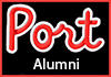 Port Alumni logo is red script text on a black background with a red border.