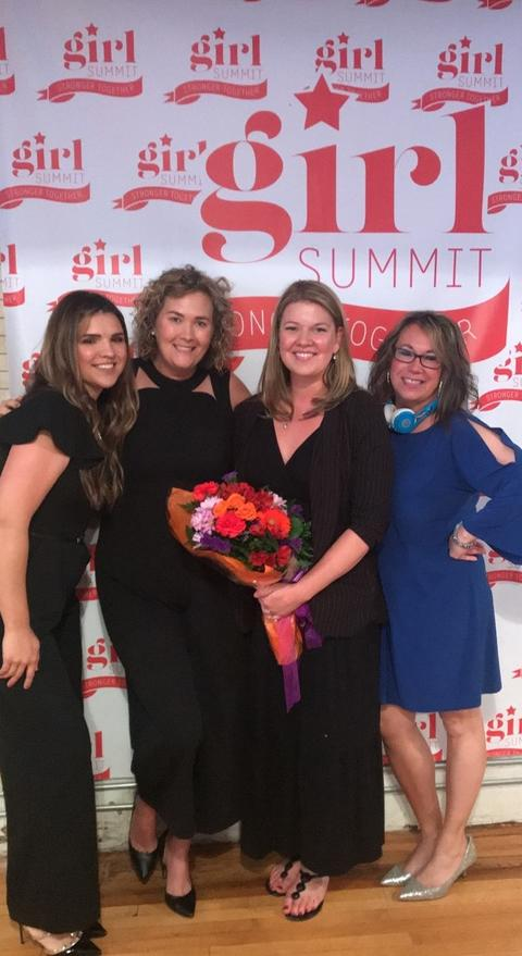 """Port Jervis """"SHEROES"""" (L-R: Saundra Striharsky, Caitlin Vaughn, Lauren Preiato, Gina Fitzpatrick). These women are all Port Jervis High School Alumni who came from far and wide to speak at our GIRL SUMMIT held on June 3rd."""