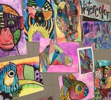 Student Artwork Display of Zentangle Animals