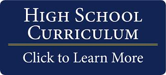 "Dark blue button says ""High School Curriculum, Click to Learn More"""