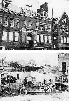 Black and white photos show Martin Luther School construction in progress