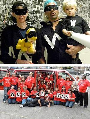 Top: Martin Luther family dressed as superheroes in black costumes and masks. Bottom: Supporters show thanks for new van bought with Walk-a-Thon money.