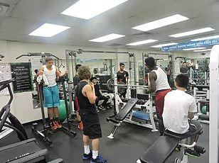 Martin Luther School students work out in the new exercise/weight facility.
