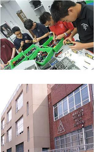 Top: Students sorting parts in green bins. Bottom: Outside view of Martin Luther School's brick exterior.
