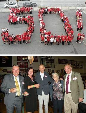 "Top: Aerial view of people forming a human ""50!"" to celebrate MLS's big anniversary. Bottom: Alumni enjoy festivities."