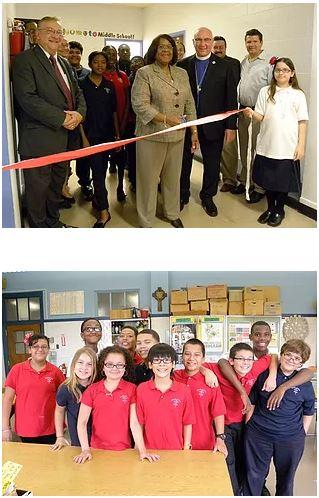 Top: Officials cut the ribbon on the newly named school. Bottom: A group of smiling students in red shirts pose in front of the classroom.