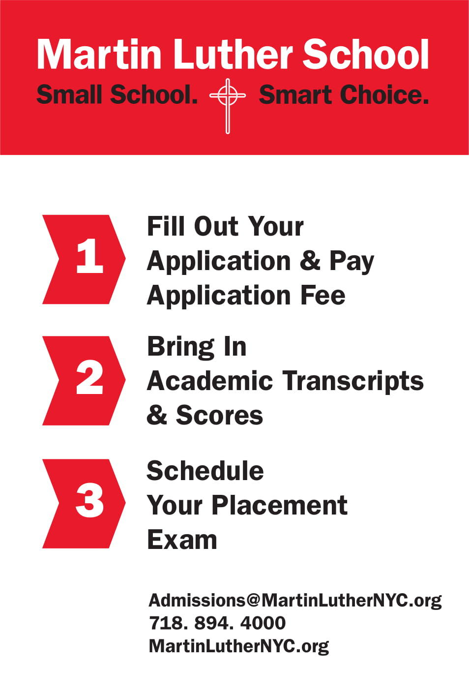 Infographic with the following: 1. Join us for MLS Cougar Day, 2. Fill out your application and pay application fee, 3. Schedule your placement exam, 4. Bring in academic transcripts and scores