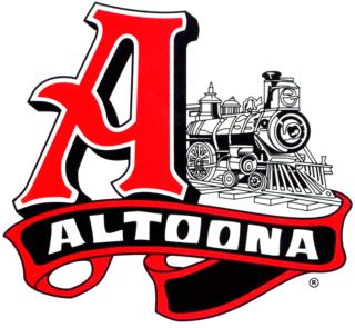 School of Altoona district logo is a large A with the words Altoona below it, over a black and white drawing of a locomotive