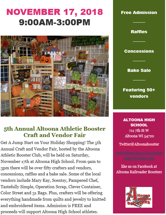 5th Annual Altoona Athletic Booster Craft and Vendor Fair