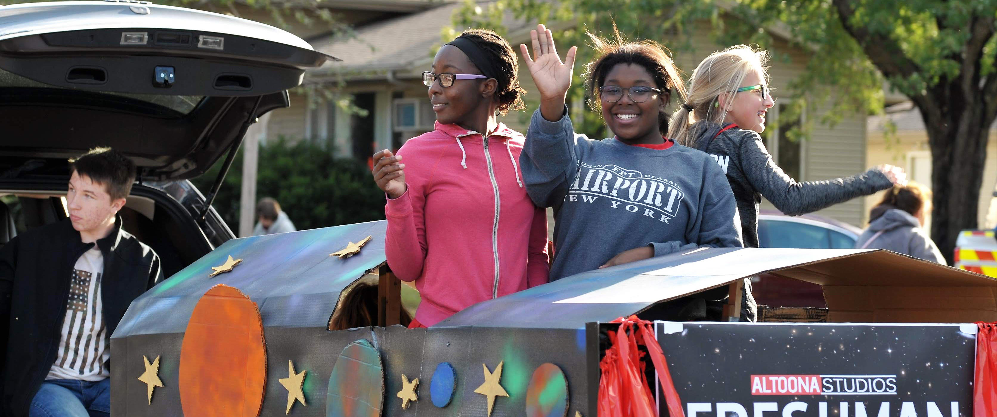 High School Students at Homecoming Parade