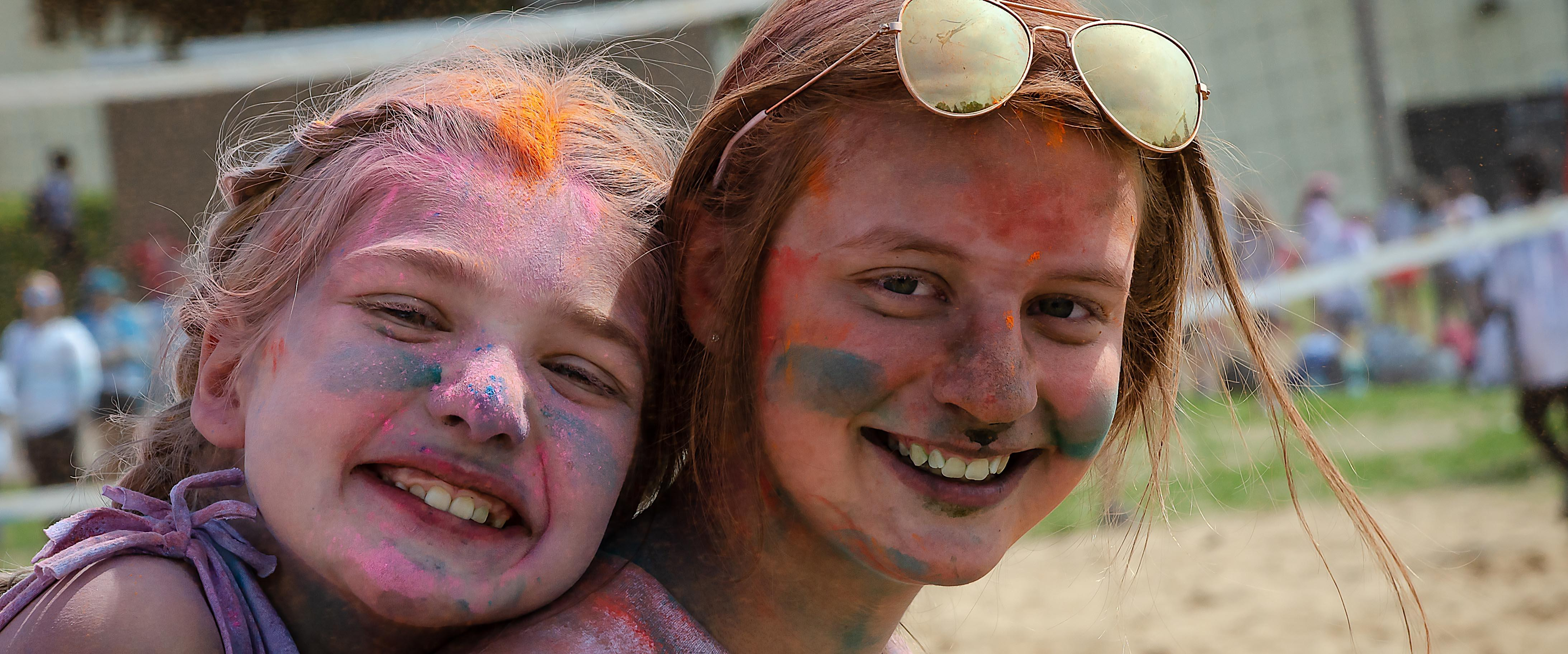 Students Celebrating Color Run