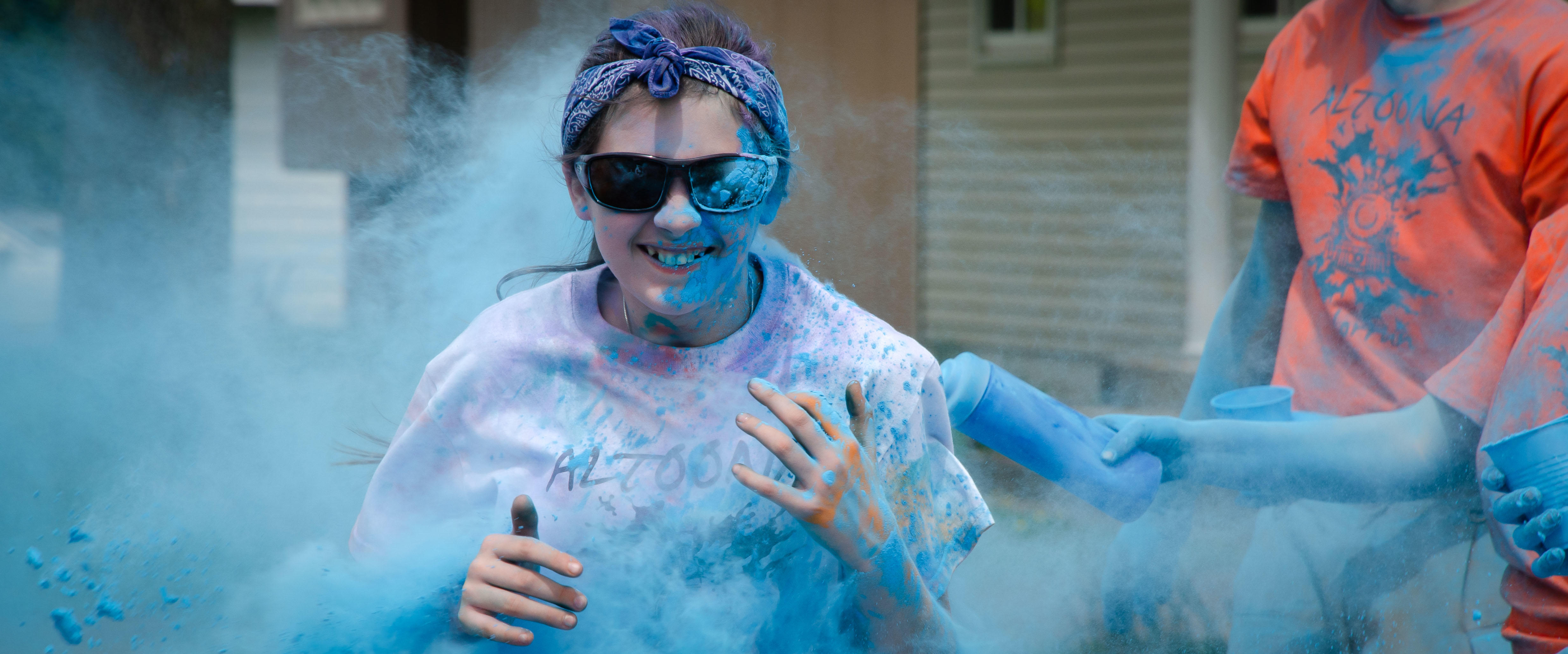 Student running in 2019 Color Run
