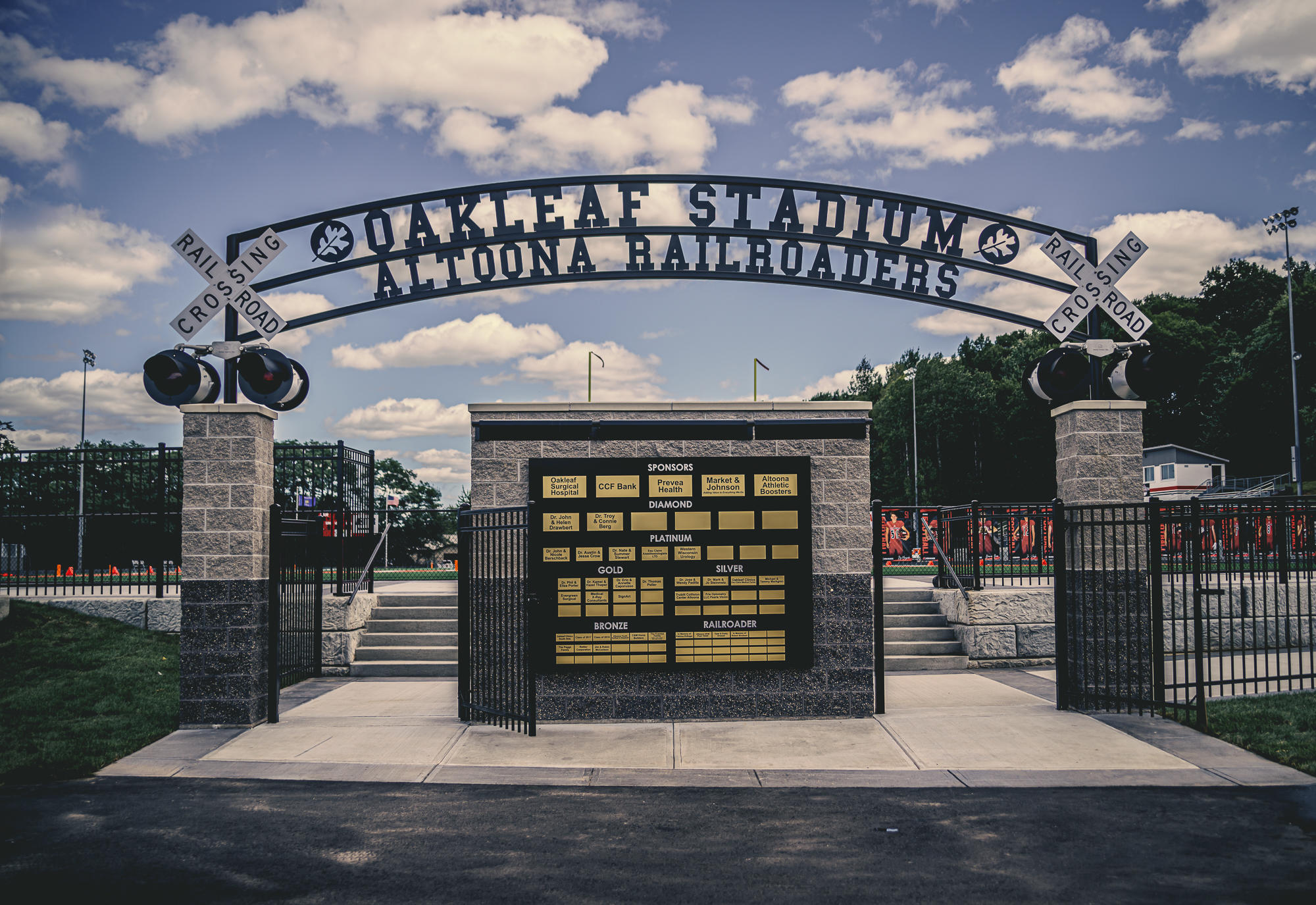 Front view through the gates of OakLeaf Stadium