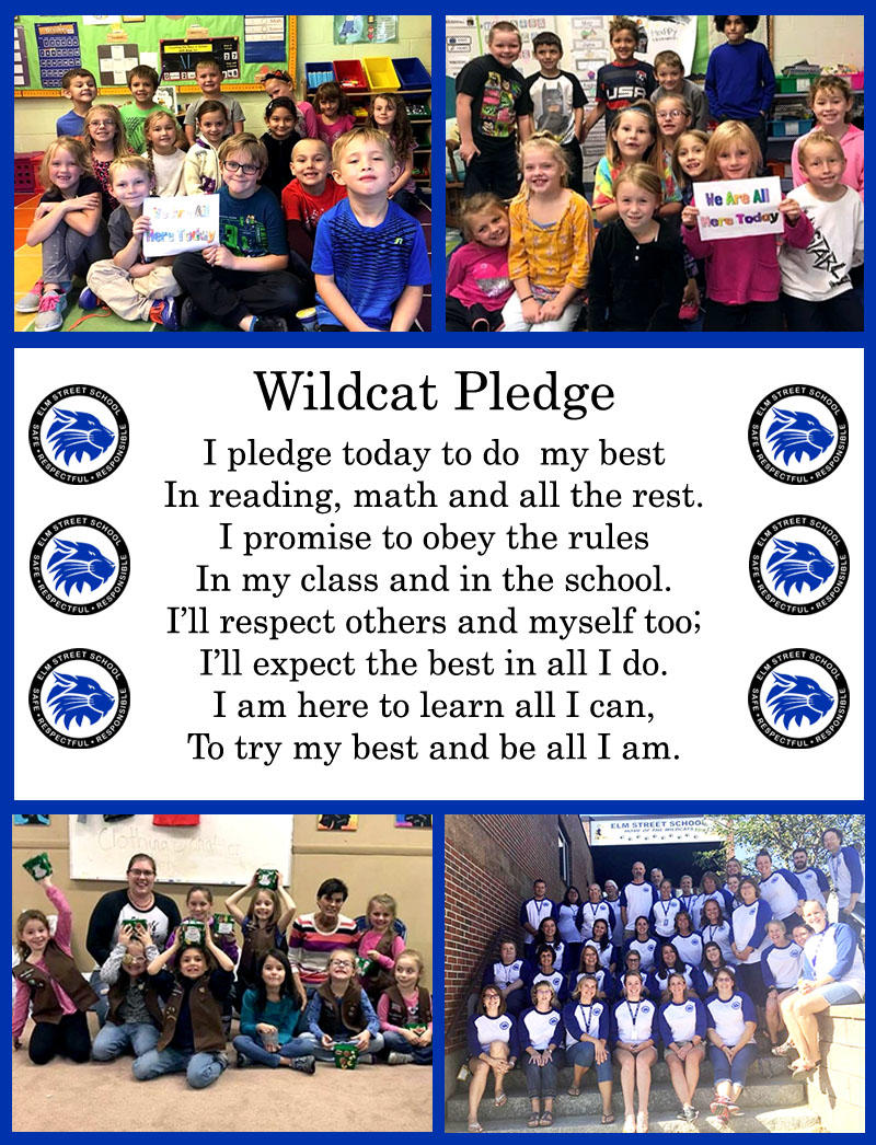 Text with Wildcat Pledge (words are above image) and pictures of RSU 16 students.