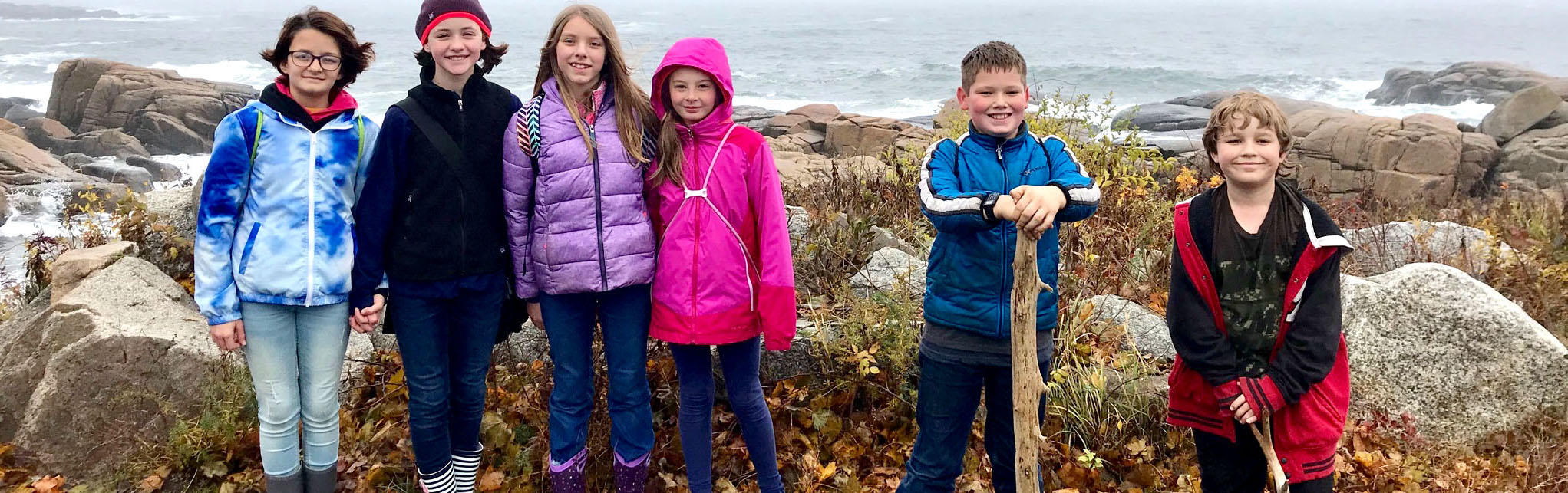 Photo of students at a Ferry Beach field trip.