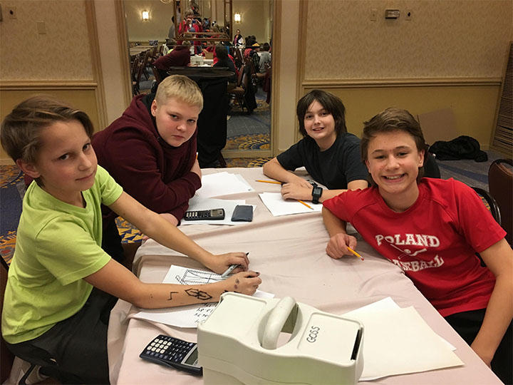 Photo of Whittier Math Club students at a  Math Meet at Holiday Inn by the Bay in Portland.