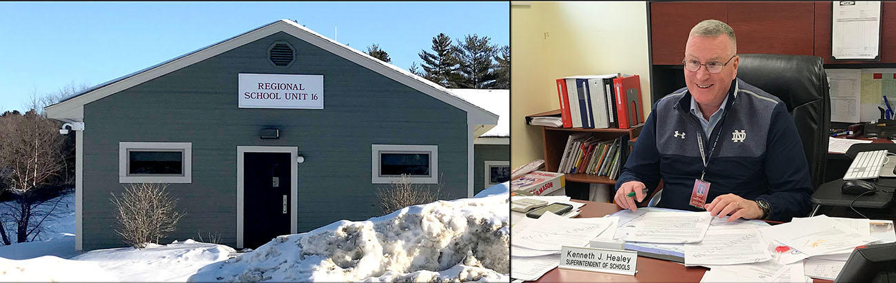 Photo of Superintendent Healey at his desk, and a shot of the RSU #16 building in the winter.