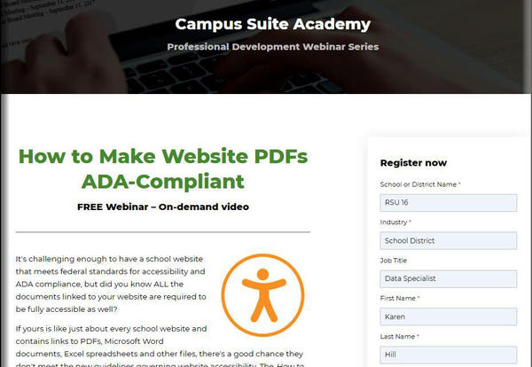 A photo of a screen shot showing that Campus Suite offers webinars to help train on how to keep a site ADA Compliant.