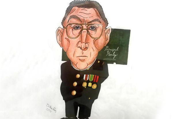 Photo of a caricature of Superintendent Healey done by a former student.