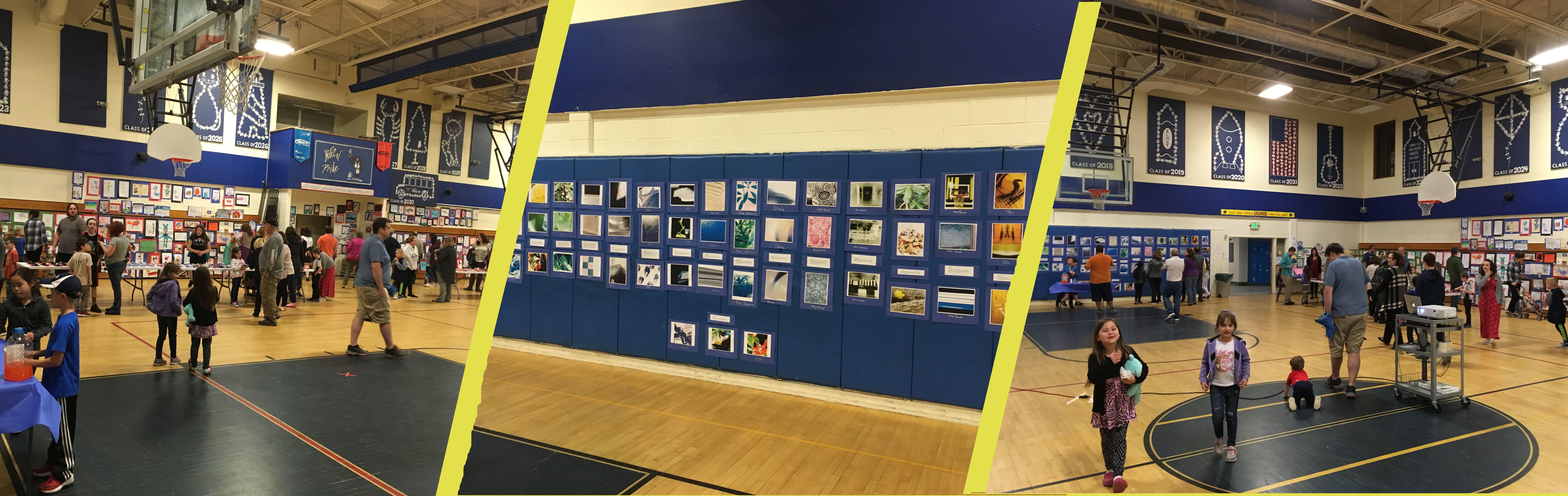 3 photos combined of the elementary art show