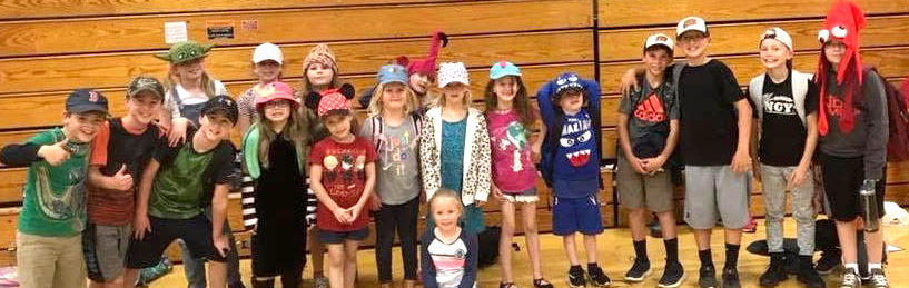 Students with hats on for Hat Day!