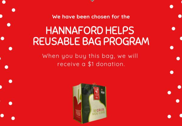 Image of the Hannaford Helps Reusable Bag Program ad.