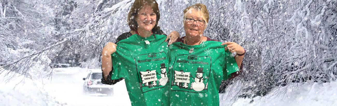 Photo of a teacher and a bus monitor who created a snow day jingle and won T-shirts!