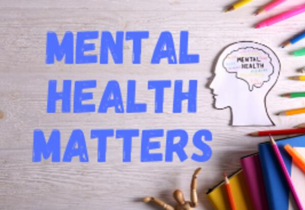 Mental Health Banner with an outline drawing of a person's profile and brain