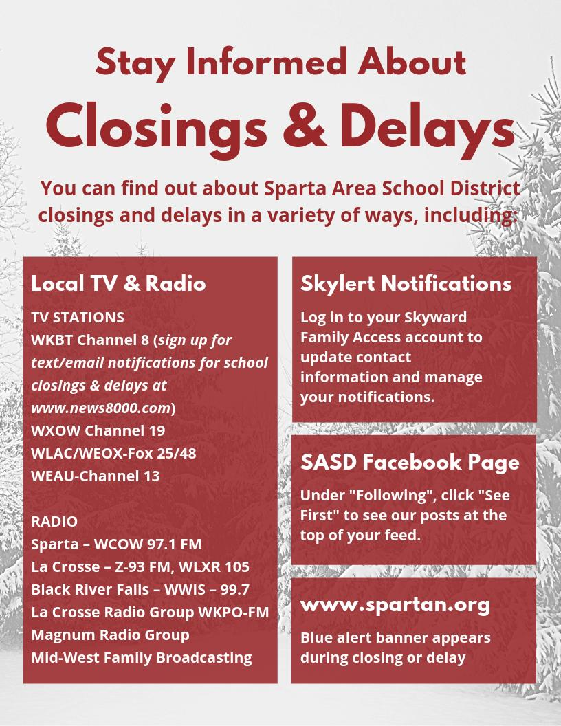 Stay Informed about School Closings and Delays | Sparta Area