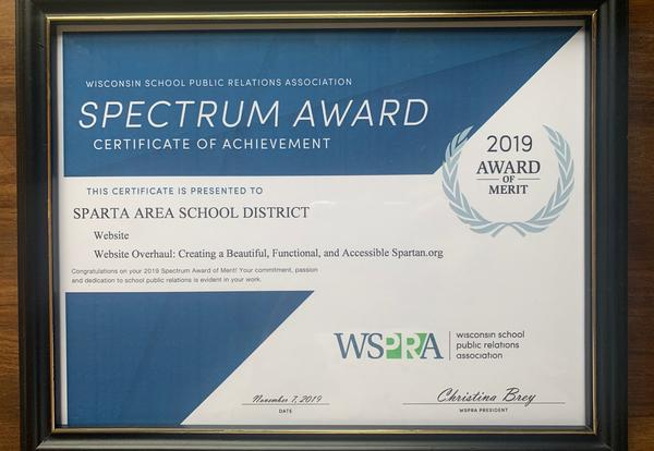 SASD Earns Spectrum Award of Merit in School Communications