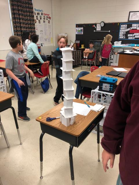 Tall paper cube tower, single row