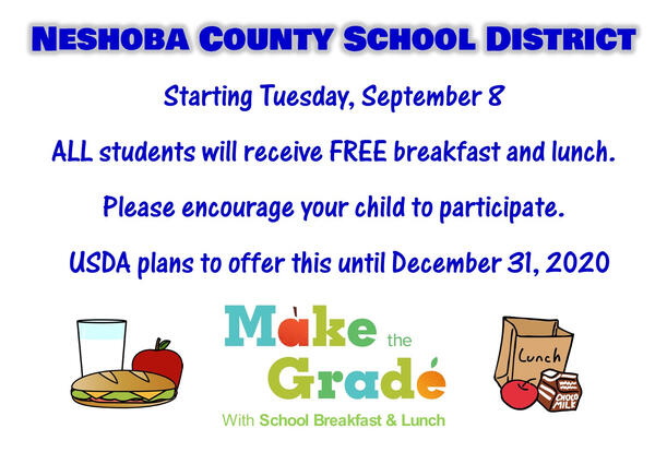 Free Breakfast & Lunch for ALL Students until December 31st
