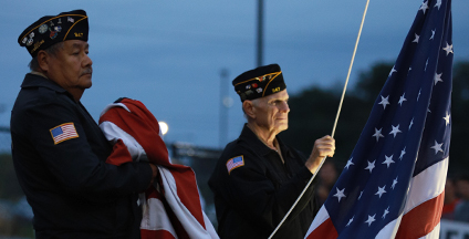 Veterans Raising Flag