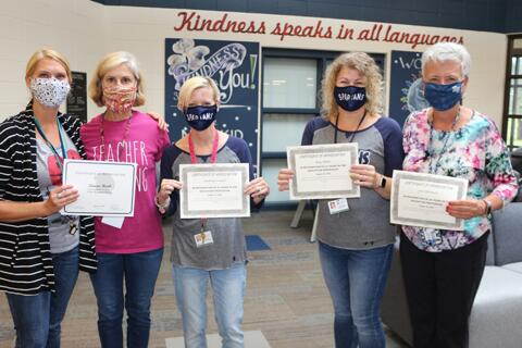 Laura Hook (20 years), Linda Collins (20 years), Kathryn Cordell (25 years),  Amy Miller (25 years), Lori Ellerbach (25 years)