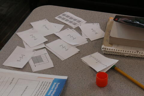 Math note cards ready to be pasted into math books