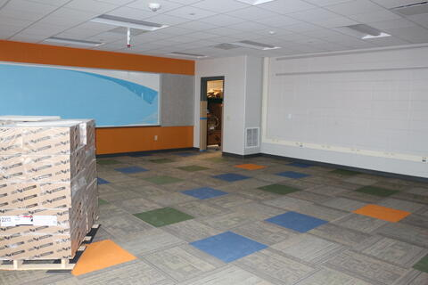 Classrooms painted and carpet installed