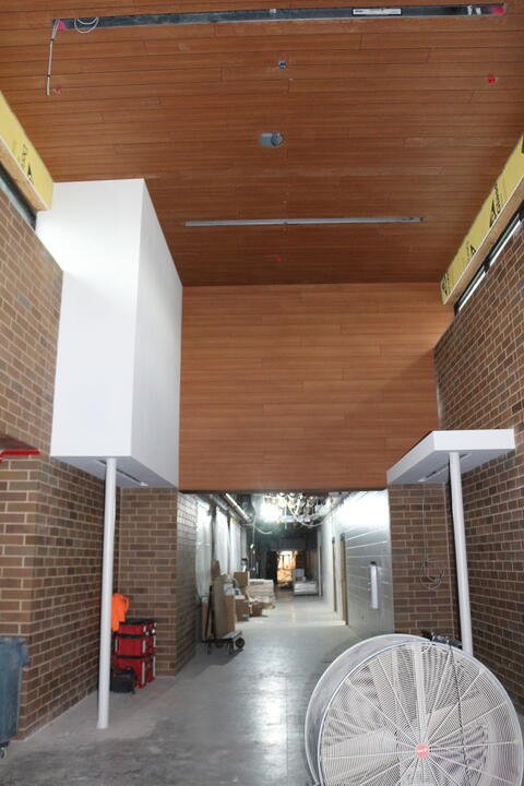 Walls and ceiling installed in front entrance