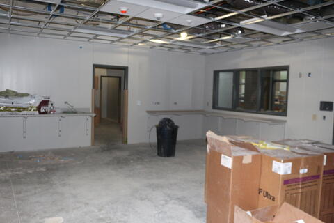 Shelves and Ceiling installed in main office