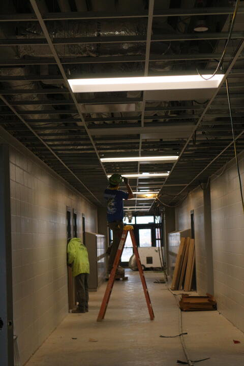 Lighting and Ceiling installed in Hallways