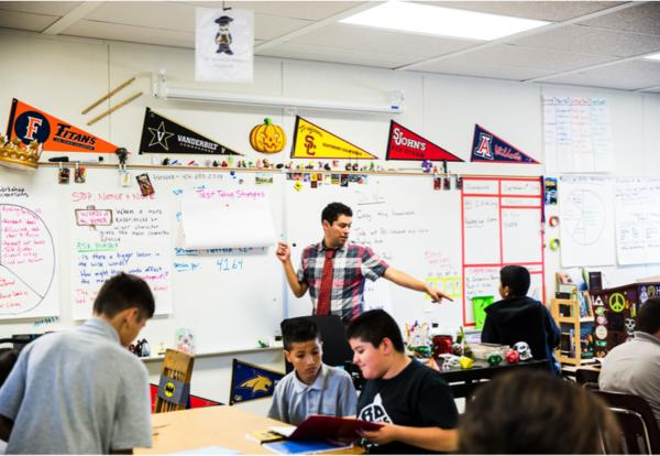 Herrera in his English classroom