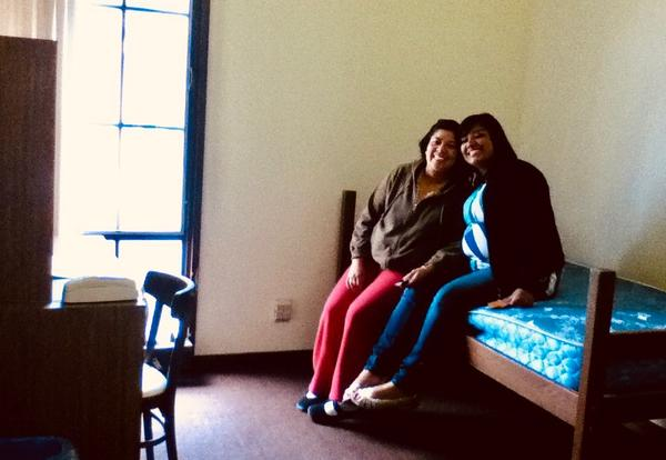 Dulce and her mother on move-in day for Hellman Summer Science and Math