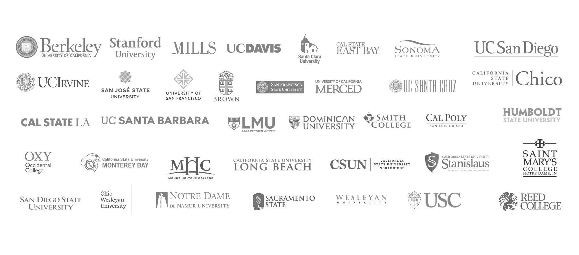 Image of the logos of colleges where DCP alumni have attended