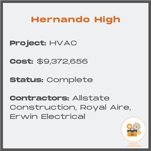 HHS HVAC Replacement - Cost $9,372,656 - Status Complete - Contractors Allstate Construction, Royal Aire and Erwin Electrical