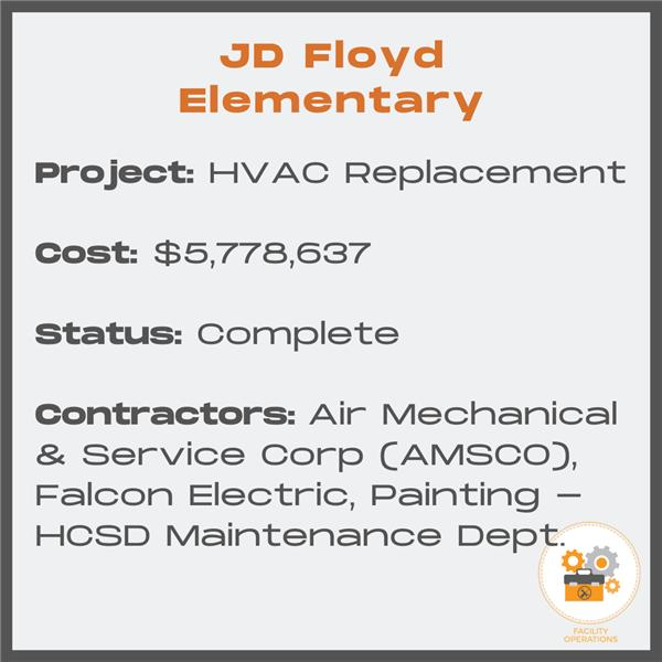 JD Floyd HVAC Replacement - Cost $5,778,637 - Status Complete - Contractors Air Mechanical and Service Corp. and Falcon Electric and the HCSD Maintenance Dept.
