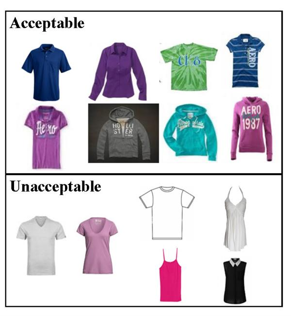 Examples of Acceptable nad Unacceptable tops