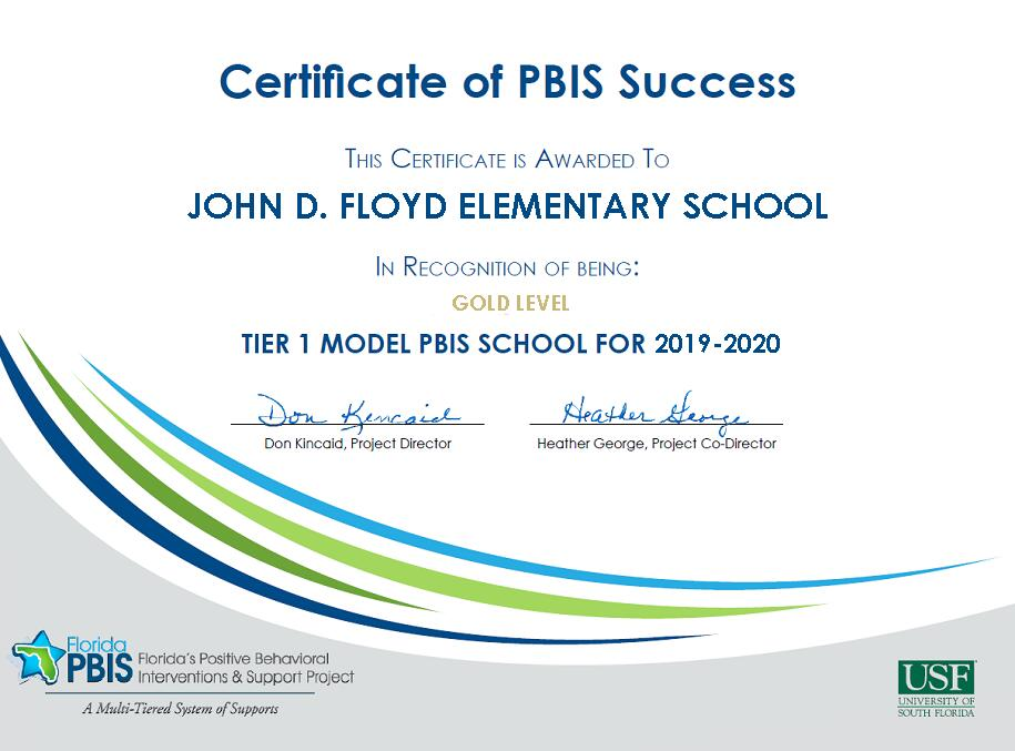 Certificate of PBIS Success