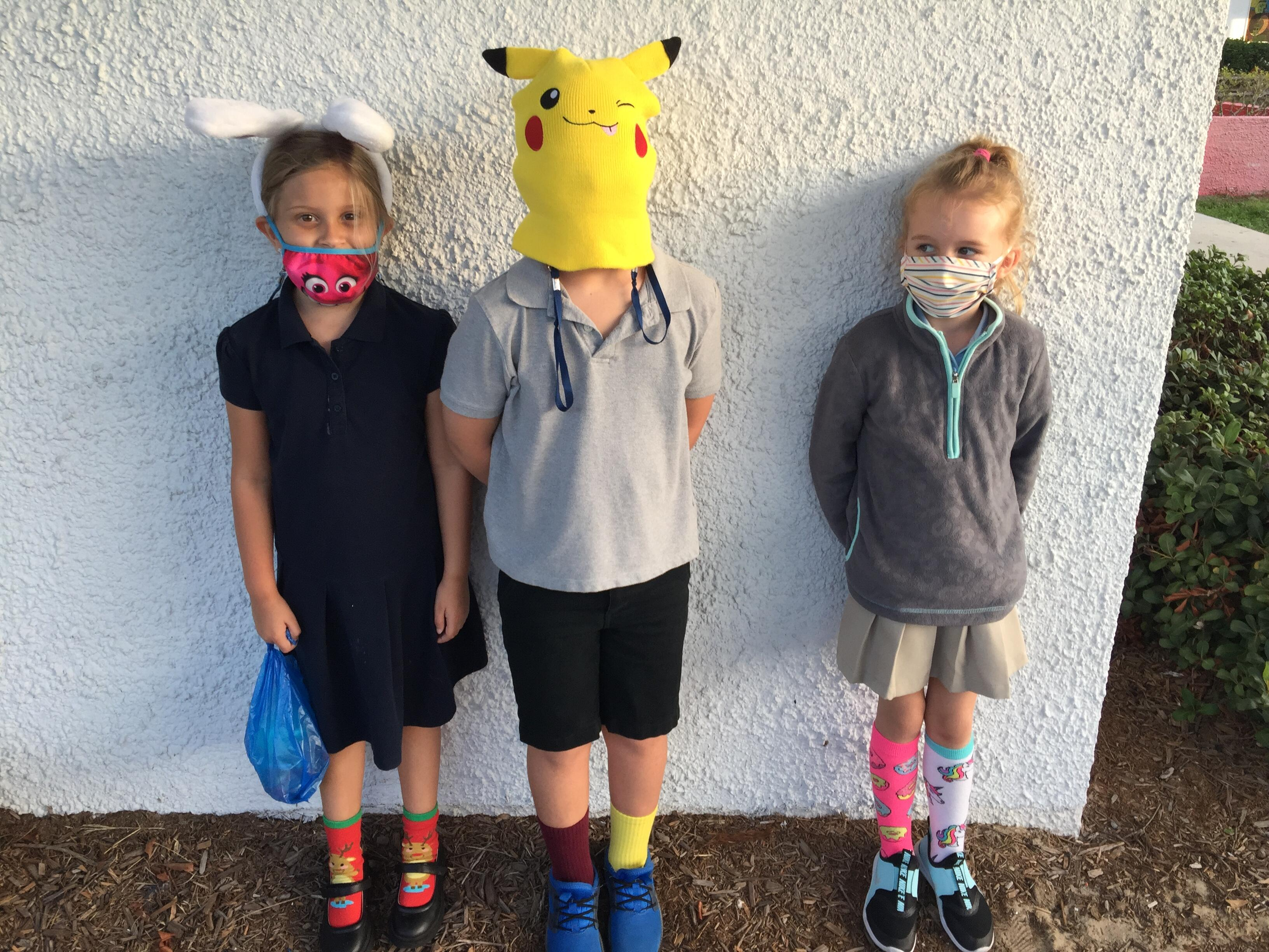 Students wearing Crazy hats and socks