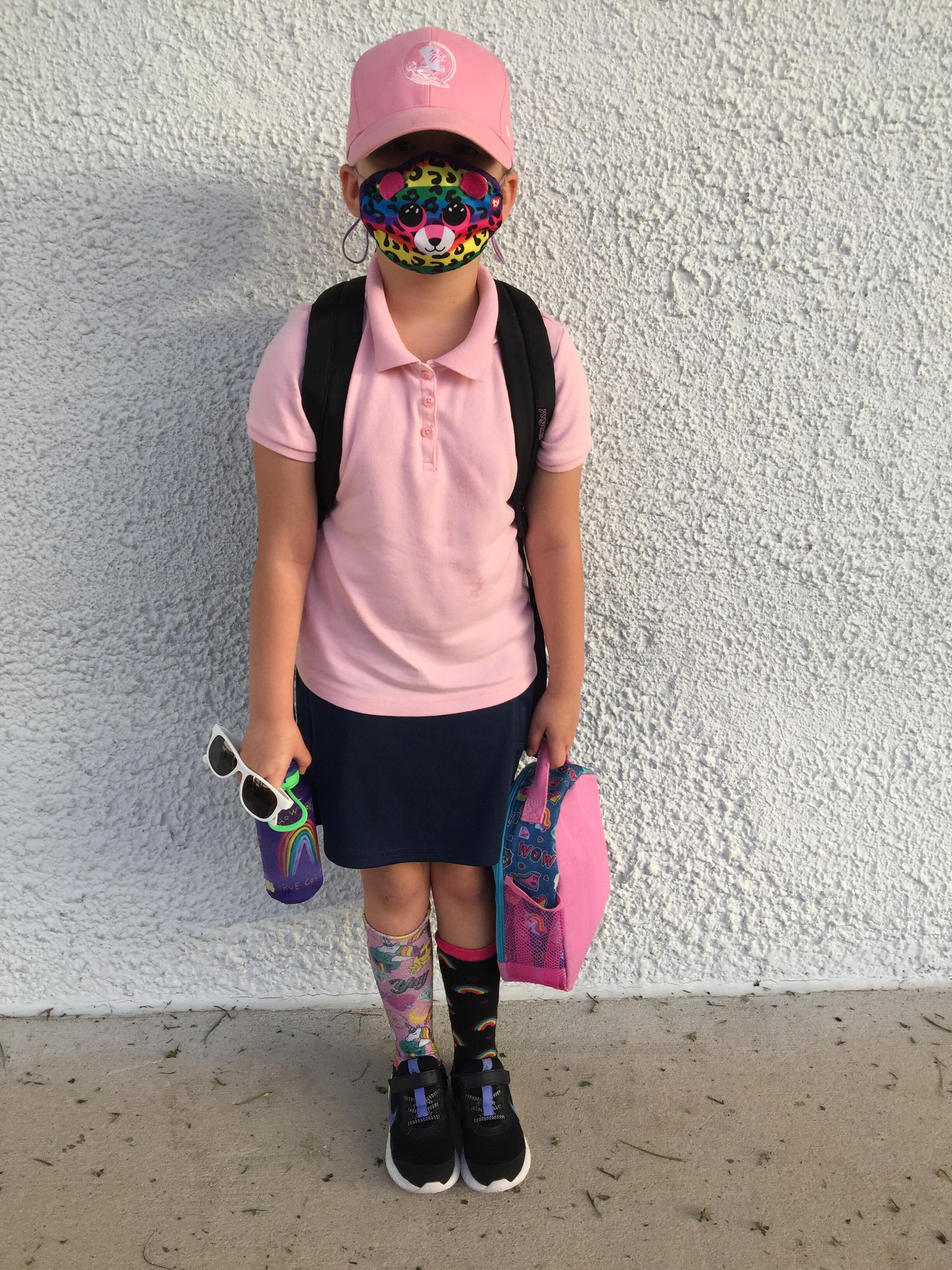student wearing crazy hat and socks