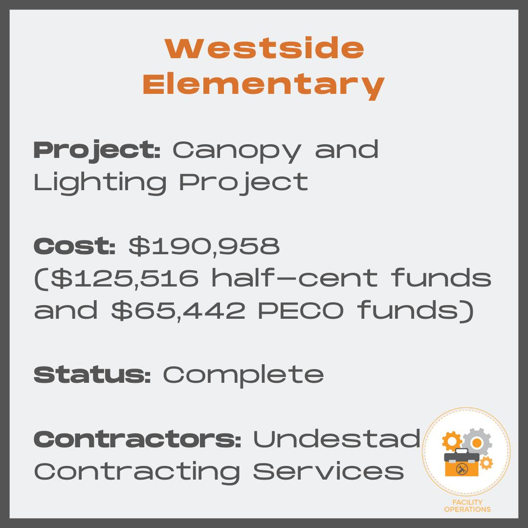 Westside Elementary Canopy and Lighting Project - Cost $190,958 - Status Complete - Contractors Undestad Contracting Services