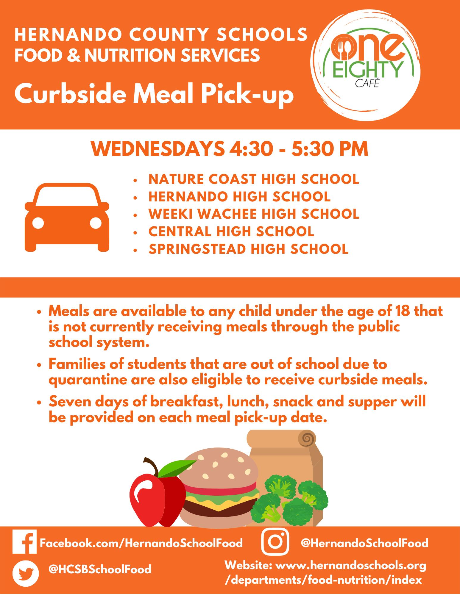 Curbside meal pick-up flyer